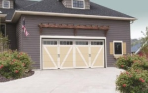 Overhead Door Courtyard Collection® 7565, Model 920 in Almond/White finish